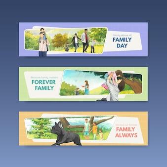 国際家族デーのコンセプトデザイン水彩画のバナーテンプレート
