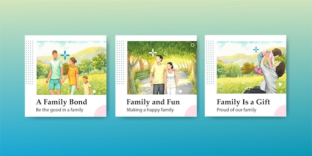 国際家族デーのコンセプトのバナーテンプレート