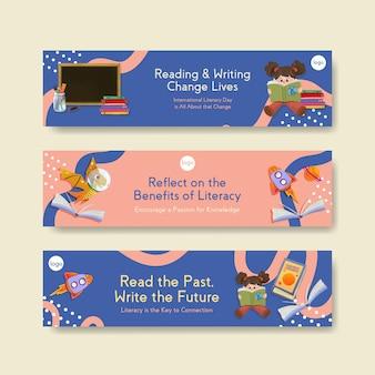 マーケティングのための国際識字デーのコンセプトデザインとチラシ水彩画のバナーテンプレート。