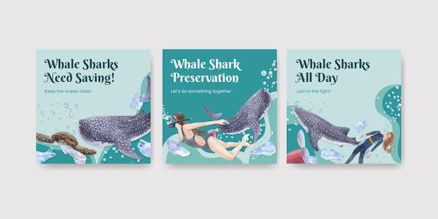 국제 고래 상어의 날 개념 배너 템플릿