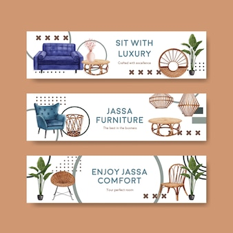 Banner template with jassa furniture concept design for advertise and marketing watercolor vector illustration