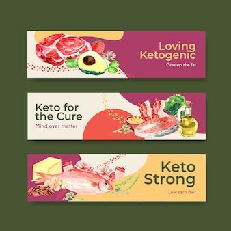 水彩イラストを宣伝およびマーケティングするためのケトン食療法の概念を備えたバナーテンプレート。