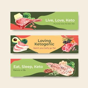 Шаблон баннера с концепцией кетогенной диеты для рекламы и маркетинга акварельной иллюстрации.