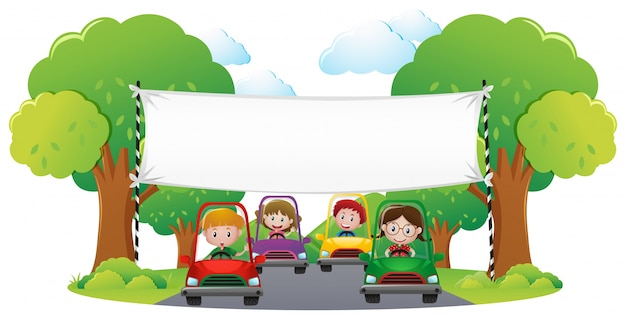 Banner template with kids racing car