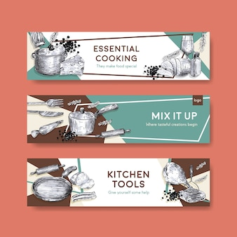 Banner template with kitchen appliances concept design for advertise vector illustration