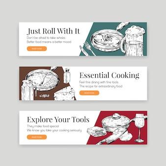 Шаблон баннера с концептуальным дизайном кухонной техники для рекламы векторные иллюстрации