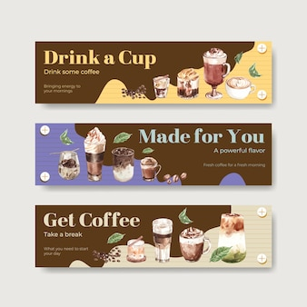 Banner template with korean coffee style concept for advertise and marketing watercolor