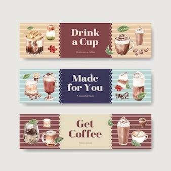 水彩画の宣伝とマーケティングのための韓国のコーヒースタイルのコンセプトのバナーテンプレート