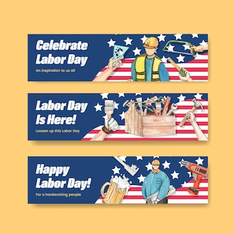 Banner template with labor day concept,watercolor style