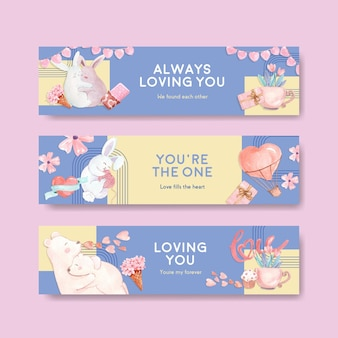 Banner template with loving you concept design for advertise and marketing watercolor illustration