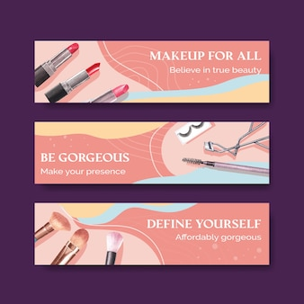 Banner template with makeup concept design for advertise and marketing watercoclor