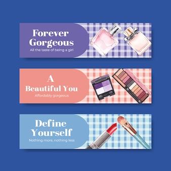 Шаблон баннера с концептуальным дизайном макияжа для рекламы и маркетинга watercoclor