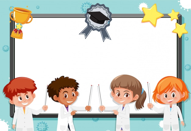 Banner template with many kids in science costume
