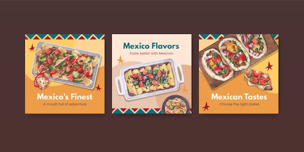 Banner template with mexican cuisine concept design watercolor illustration