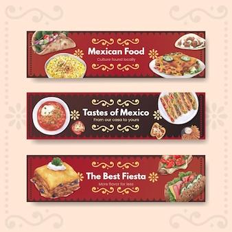 メキシコ料理のコンセプトデザイン水彩イラストとバナーテンプレート