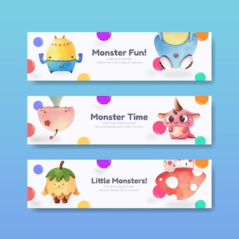 Banner template with monster concept design watercolor