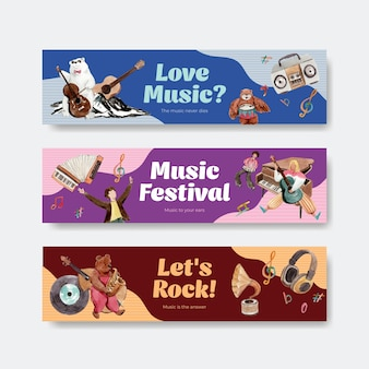Banner template with music festival concept design for advertise and marketing watercolor vector illustration