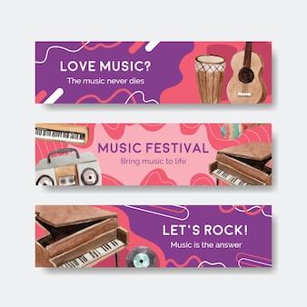 Modello di banner con concept design festival musicale per pubblicità e marketing illustrazione vettoriale acquerello