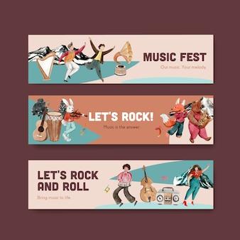 Шаблон баннера с концептуальным дизайном музыкального фестиваля для рекламы и маркетинга акварель векторные иллюстрации