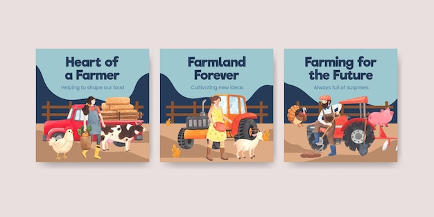 Banner template with national farmers day concept,watercolor style