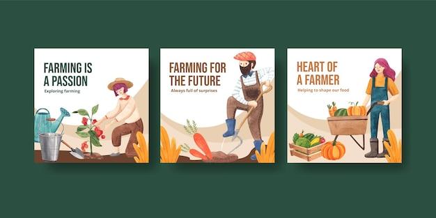 全国農民の日コンセプト、水彩スタイルのバナーテンプレート
