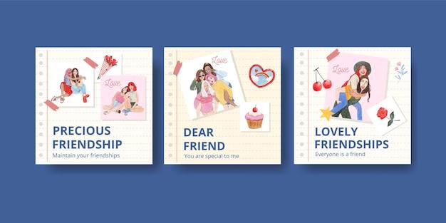 全国友情の日のコンセプト、水彩スタイルのバナーテンプレート