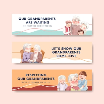 Шаблон баннера с национальным днем бабушек и дедушек концептуальный дизайн для брошюры и листовки акварель.