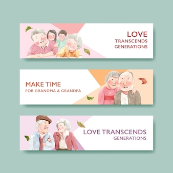 Banner template with national grandparents day concept design