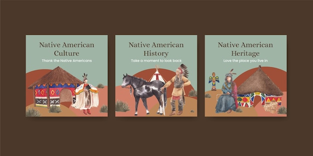 Banner template with native american in watercolor style