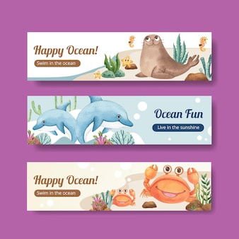 Banner template with ocean delighted conceptwatercolor style