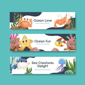 Шаблон баннера с концепцией в восторге от океана