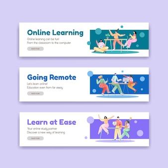 Modello di banner con concept design di apprendimento online per pubblicità e marketing illustrazione dell'acquerello