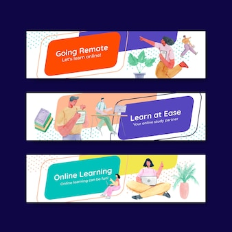 Banner template with online learning concept design for advertise and marketing watercolor illustration