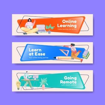 Шаблон баннера с концепцией онлайн-обучения для рекламы и маркетинга акварельной иллюстрацией