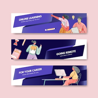 Banner template with online learning concept, watercolor style