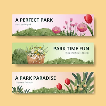 Banner template with park and family concept design for advertise watercolor illustration