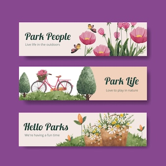 Modello di banner con parco e famiglia concept design per pubblicizzare l'illustrazione dell'acquerello