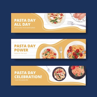 Banner template with pasta cancept,watercolor style