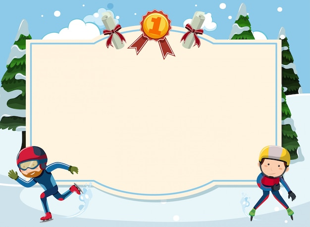 Banner template with people iceskating