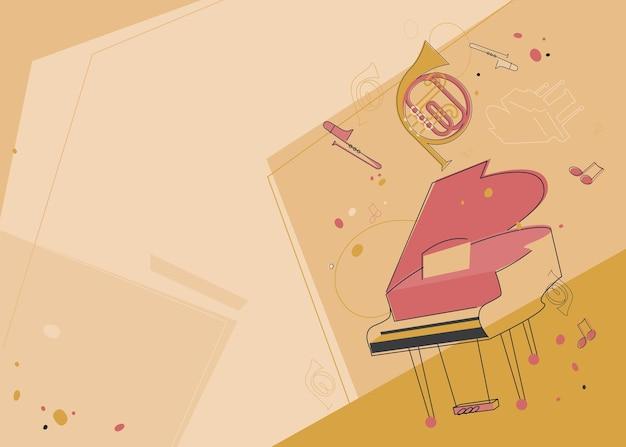 Шаблон баннера с фортепиано и валторна. дизайн флаера для концерта классической музыки.