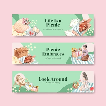 Banner template with picnic travel concept for advertise and marketing watercolor illustration