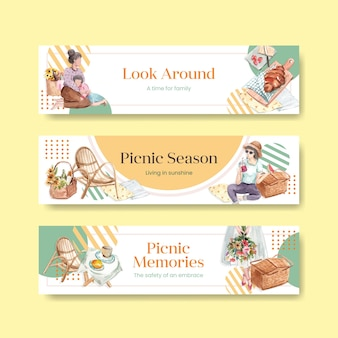水彩イラストの宣伝とマーケティングのためのピクニック旅行のコンセプトのバナーテンプレート
