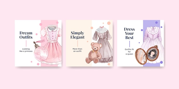 Banner template with princess outfit, watercolor style Free Vector