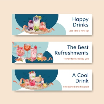 Banner template with refreshment drinks concept,watercolor style
