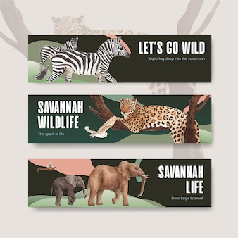Шаблон баннера с акварельной иллюстрацией концепции дикой природы саванны