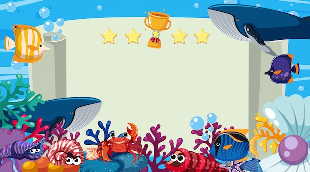 Banner template with sea creatures swimming in the ocean