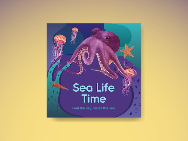 Баннер шаблон с морской жизнью концепция дизайна акварель иллюстрация