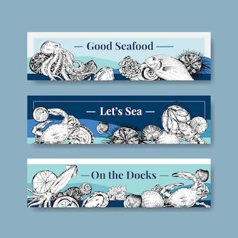 Modello di banner con concept design di frutti di mare per pubblicità e illustrazione di brochure