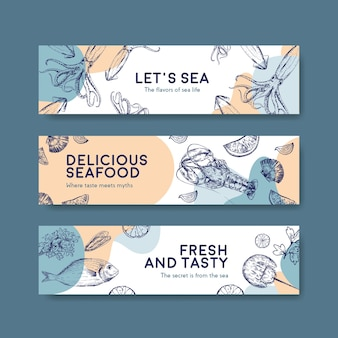 Banner template with seafood concept design for advertise and brochure illustration