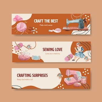 Banner template with sewing concept design   watercolor   illustration.